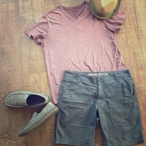 Flat front casual shorts